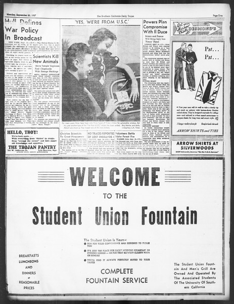 Daily Trojan, Vol. 29, No. 2, September 20, 1937