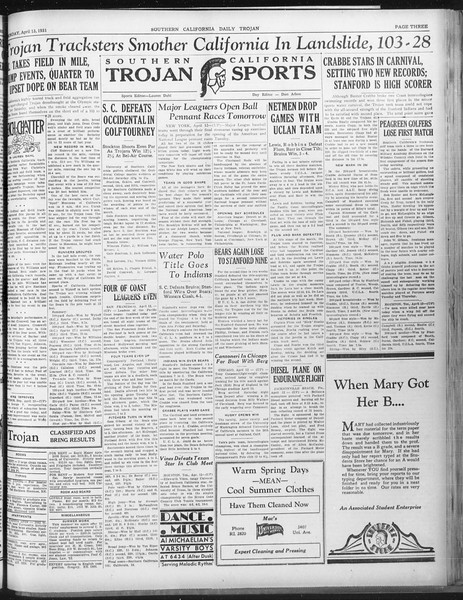 Daily Trojan, Vol. 22, No. 121, April 13, 1931