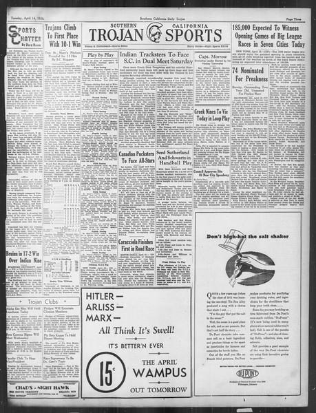 Daily Trojan, Vol. 27, No. 114, April 14, 1936