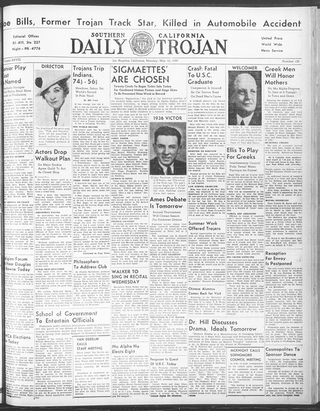 Daily Trojan, Vol. 28, No. 133, May 10, 1937