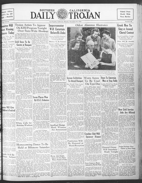 Daily Trojan, Vol. 28, No. 48, November 30, 1936