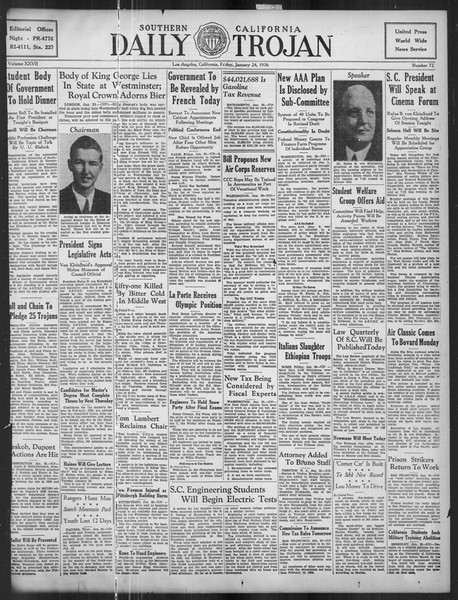Daily Trojan, Vol. 27, No. 72, January 24, 1936
