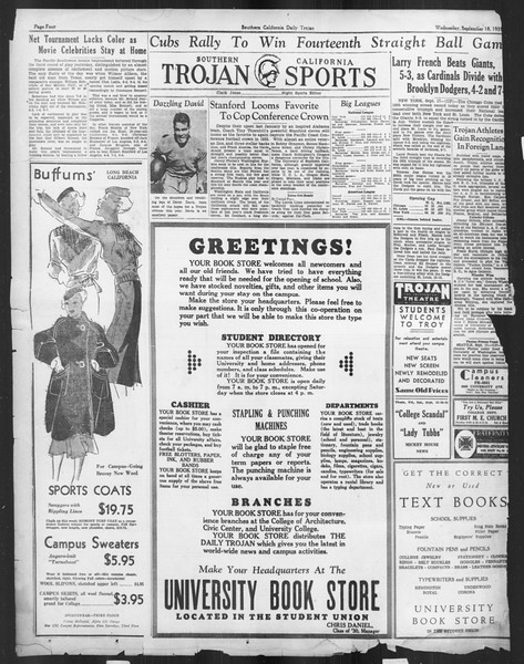 Daily Trojan, Vol. 27, No. 1, September 18, 1935