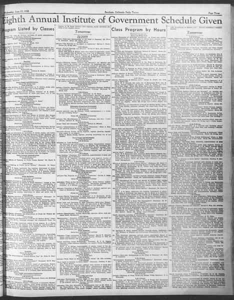 Southern California Daily Trojan: U.S.C. Institute of Government, Vol. 3, No. 2, June 17, 1936