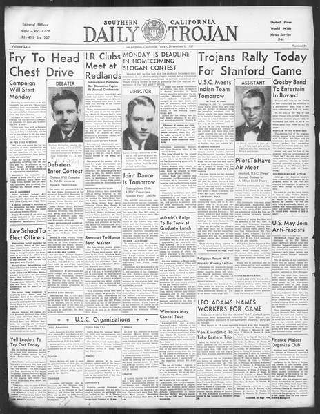 Daily Trojan, Vol. 29, No. 35, November 05, 1937