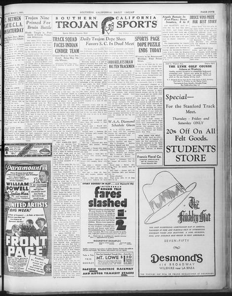 Daily Trojan, Vol. 22, No. 134, May 01, 1931