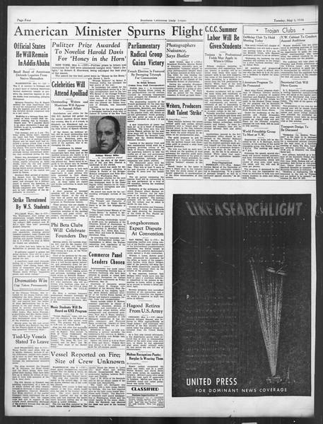 Daily Trojan, Vol. 27, No. 129, May 05, 1936