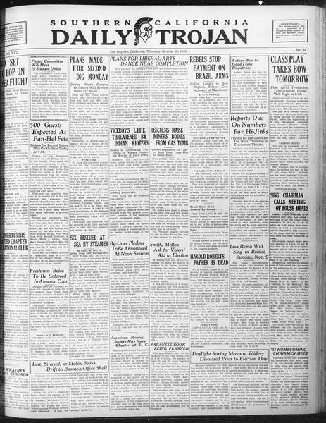 Daily Trojan, Vol. 22, No. 35, October 30, 1930