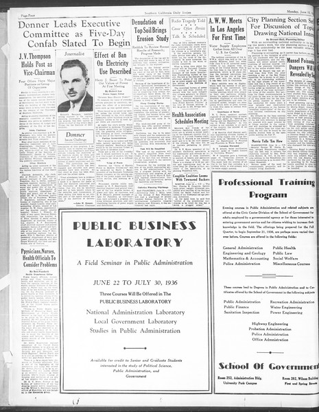 Southern California Daily Trojan: U.S.C. Institute of Government, Vol. 3, No. 1, June 15, 1936