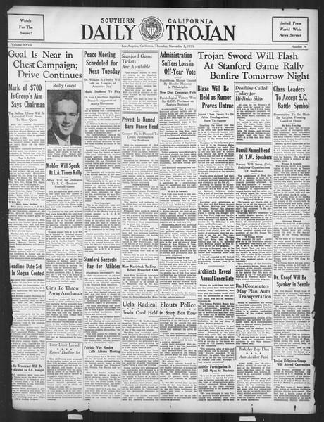 Daily Trojan, Vol. 27, No. 34, November 07, 1935