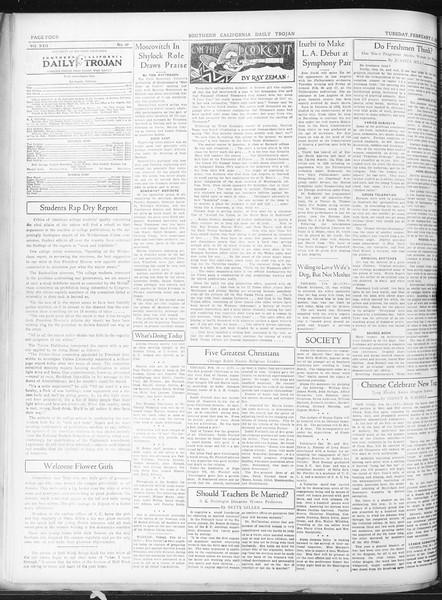 Daily Trojan, Vol. 22, No. 89, February 17, 1931