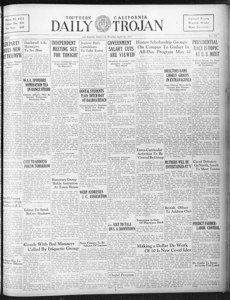 Daily Trojan, Vol. 23, No. 132, April 25, 1932