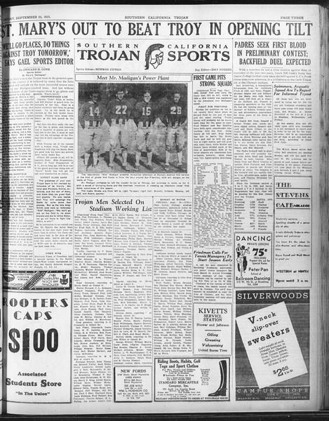 Daily Trojan, Vol. 23, No. 11, September 25, 1931