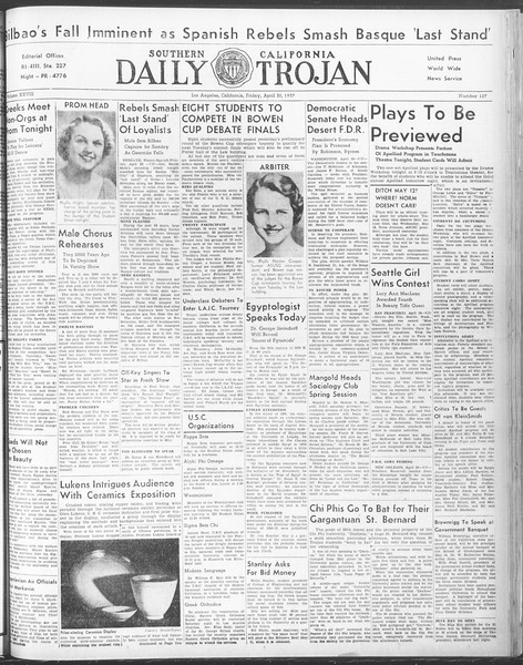 Daily Trojan, Vol. 28, No. 127, April 30, 1937