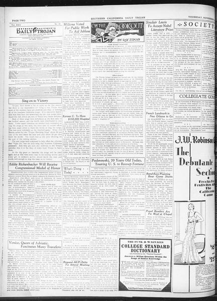 Daily Trojan, Vol. 22, No. 40, November 06, 1930