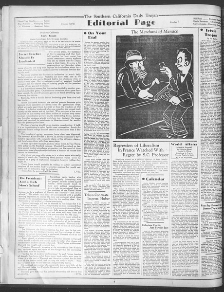 Daily Trojan, Vol. 28, No. 5, September 24, 1936