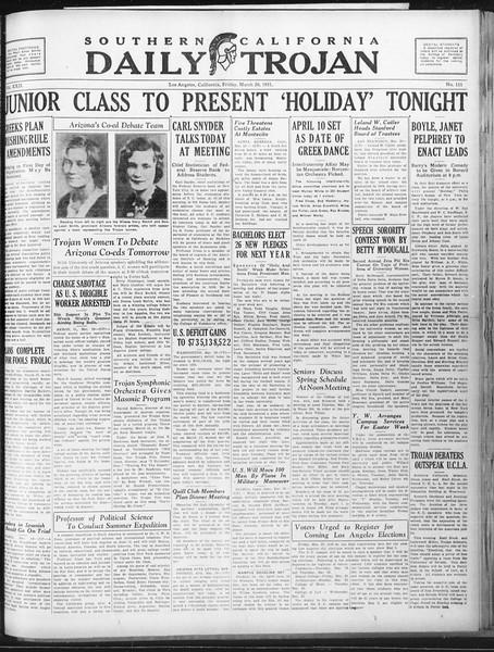 Daily Trojan, Vol. 22, No. 111, March 20, 1931