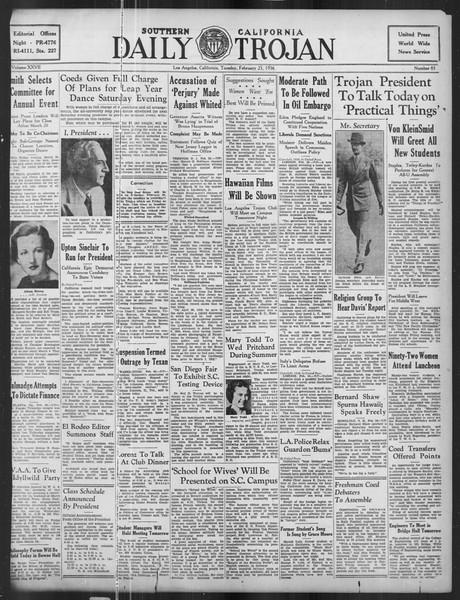 Daily Trojan, Vol. 27, No. 85, February 25, 1936