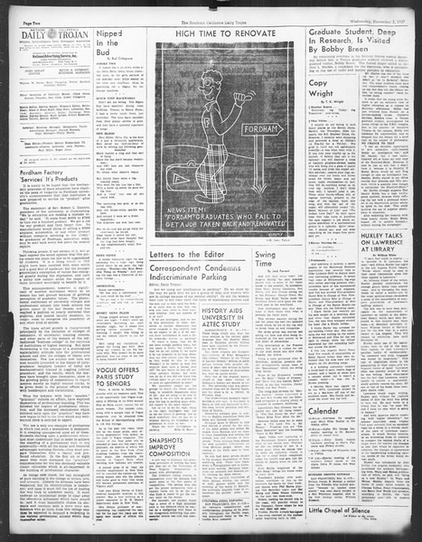 Daily Trojan, Vol. 29, No. 33, November 03, 1937