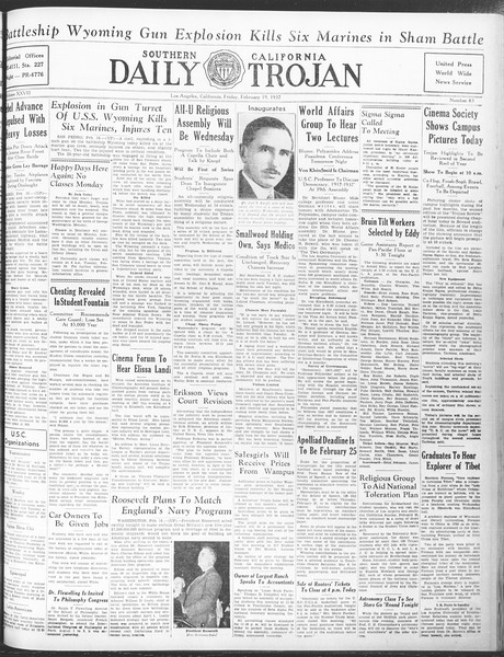 Daily Trojan, Vol. 28, No. 83, February 19, 1937