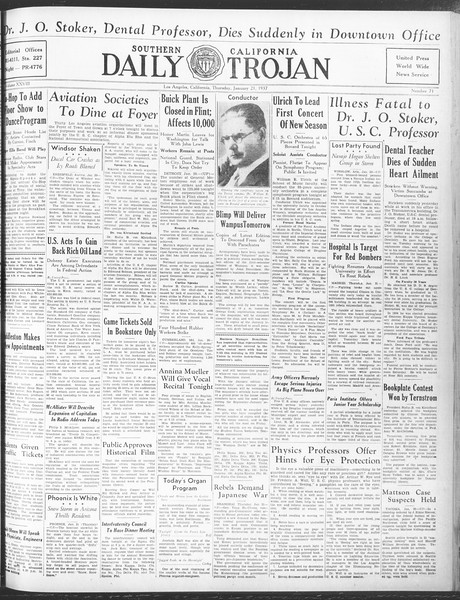 Daily Trojan, Vol. 28, No. 71, January 21, 1937