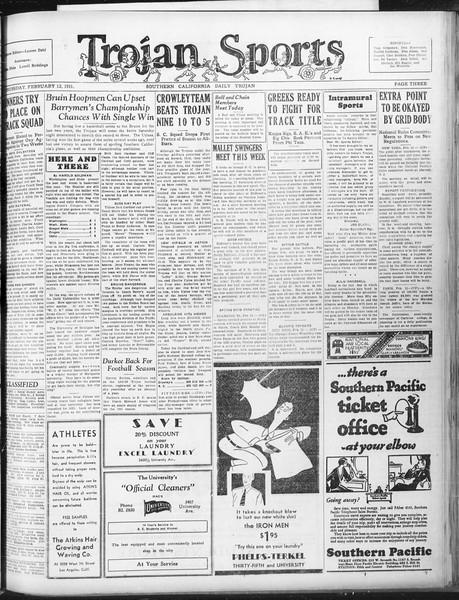 Daily Trojan, Vol. 22, No. 86, February 12, 1931