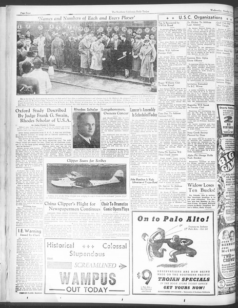 Daily Trojan, Vol. 28, No. 19, October 14, 1936