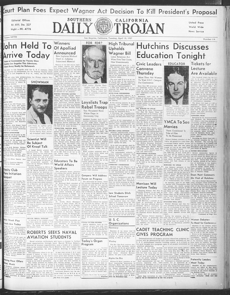 Daily Trojan, Vol. 28, No. 114, April 13, 1937