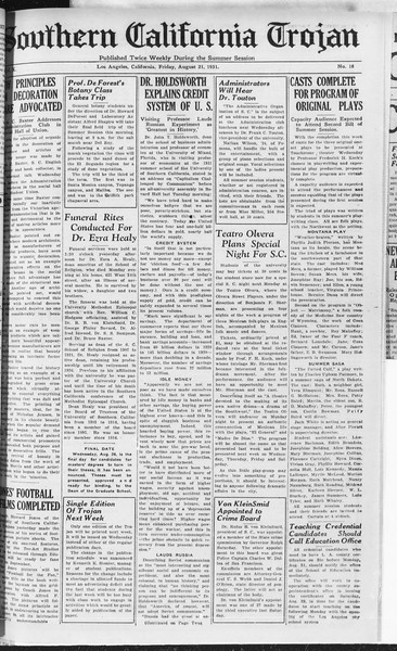 Southern California Trojan, Vol. 10, No. 18, August 21, 1931