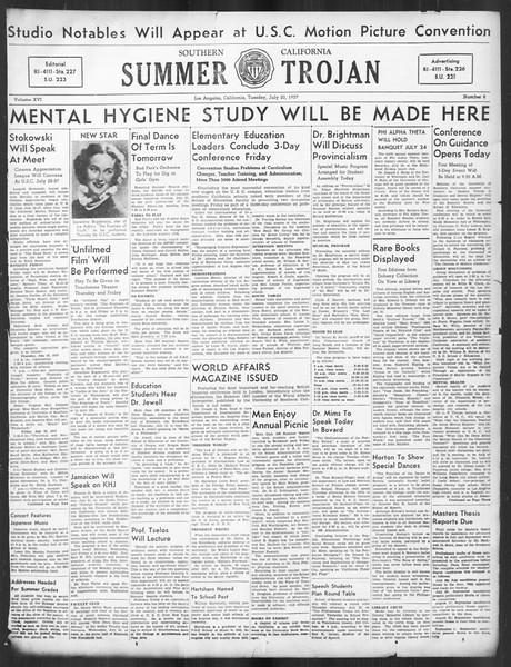 Summer Trojan, Vol. 16, No. 8, July 20, 1937