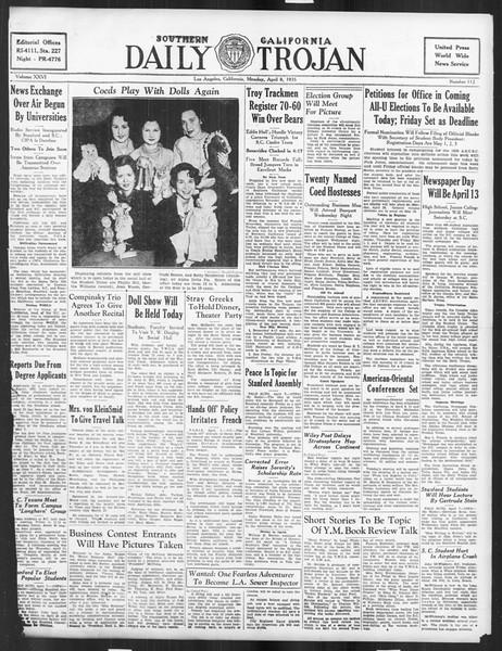 Daily Trojan, Vol. 26, No. 112, April 08, 1935
