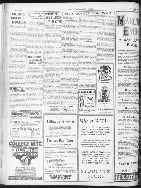 Daily Trojan, Vol. 23, No. 26, October 16, 1931