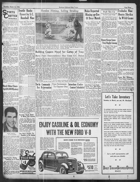 Daily Trojan, Vol. 27, No. 97, March 12, 1936