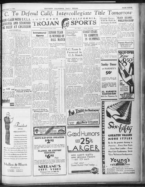 Daily Trojan, Vol. 22, No. 144, May 15, 1931