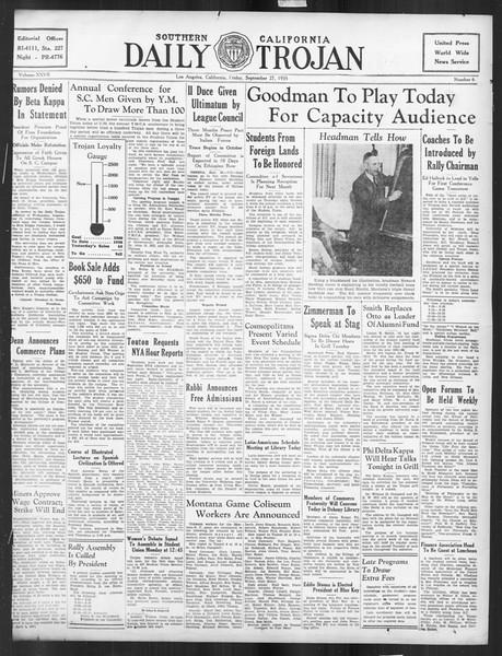 Daily Trojan, Vol. 27, No. 6, September 27, 1935