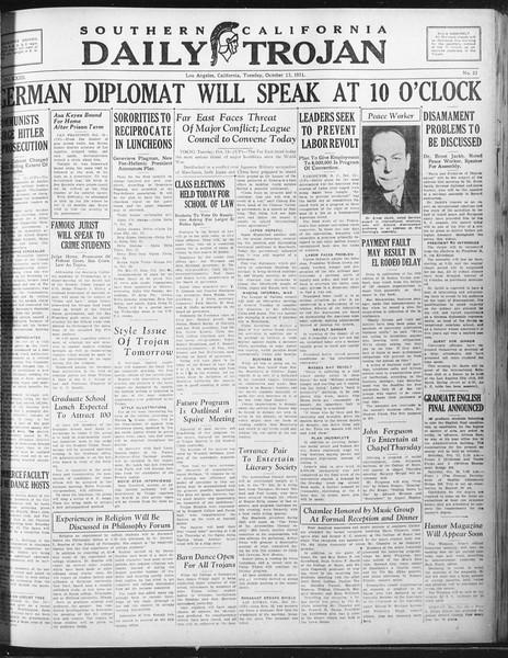 Daily Trojan, Vol. 23, No. 23, October 13, 1931