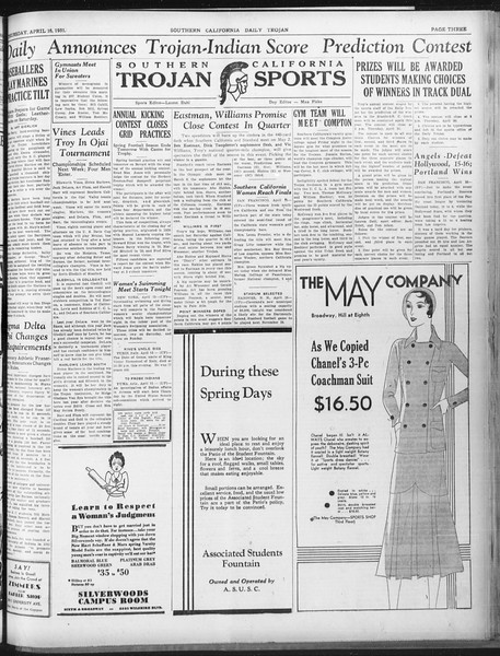 Daily Trojan, Vol. 22, No. 124, April 16, 1931