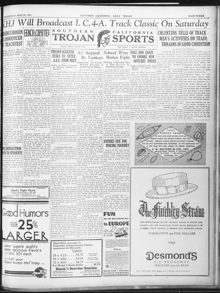 Daily Trojan, Vol. 22, No. 152, May 27, 1931