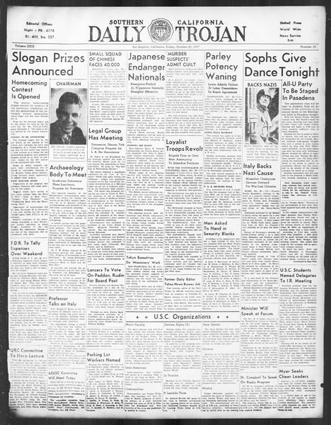 Daily Trojan, Vol. 29, No. 30, October 29, 1937