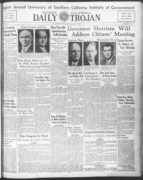 Southern California Daily Trojan: U.S.C. Institute of Government, Vol. 3, No. 1, June 15, 1936