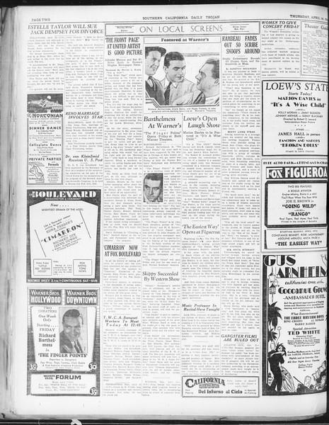 Daily Trojan, Vol. 22, No. 124, April 16, 1931