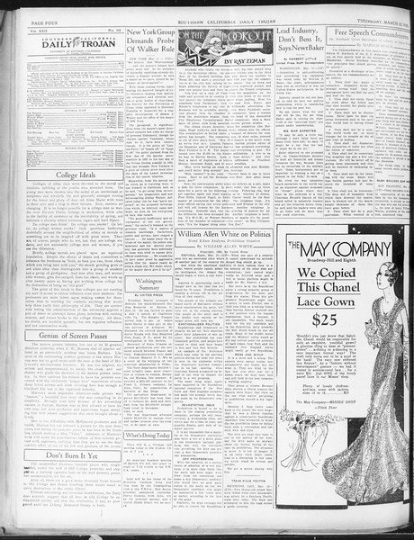 Daily Trojan, Vol. 22, No. 105, March 12, 1931