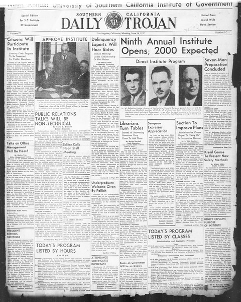 Southern California Daily Trojan: U.S.C. Institute of Government, Vol. 4, No. 1, June 14, 1937
