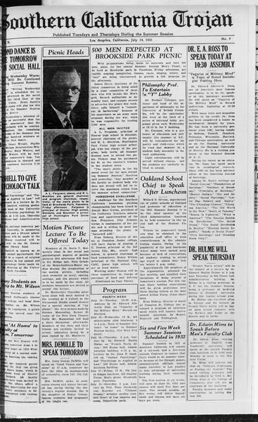 Southern California Trojan, Vol. 10, No. 7, July 14, 1931