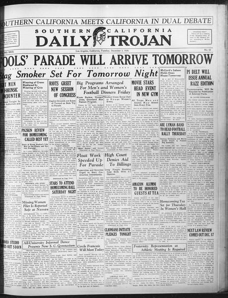 Daily Trojan, Vol. 22, No. 55, December 02, 1930