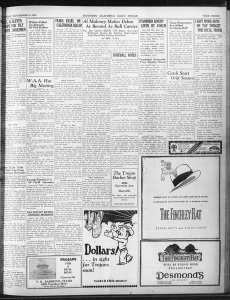 Daily Trojan, Vol. 22, No. 6, September 19, 1930