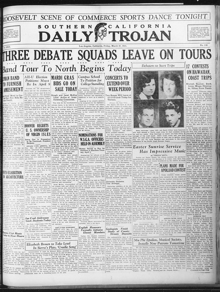 Daily Trojan, Vol. 22, No. 116, March 27, 1931