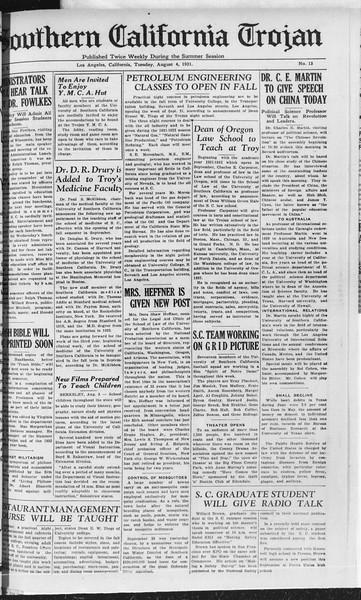 Southern California Trojan, Vol. 10, No. 13, August 04, 1931