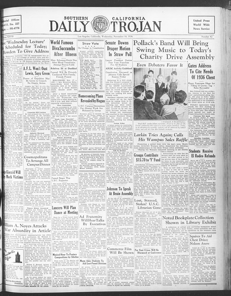 Daily Trojan, Vol. 28, No. 42, November 18, 1936