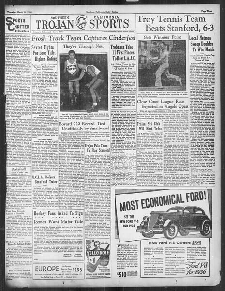 Daily Trojan, Vol. 27, No. 107, March 26, 1936